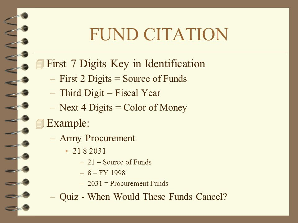 FUND CITATION First 7 Digits Key in Identification Example: