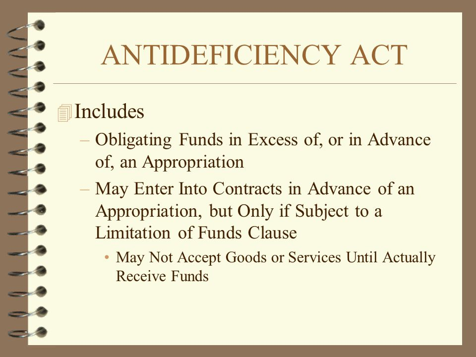 ANTIDEFICIENCY ACT Includes