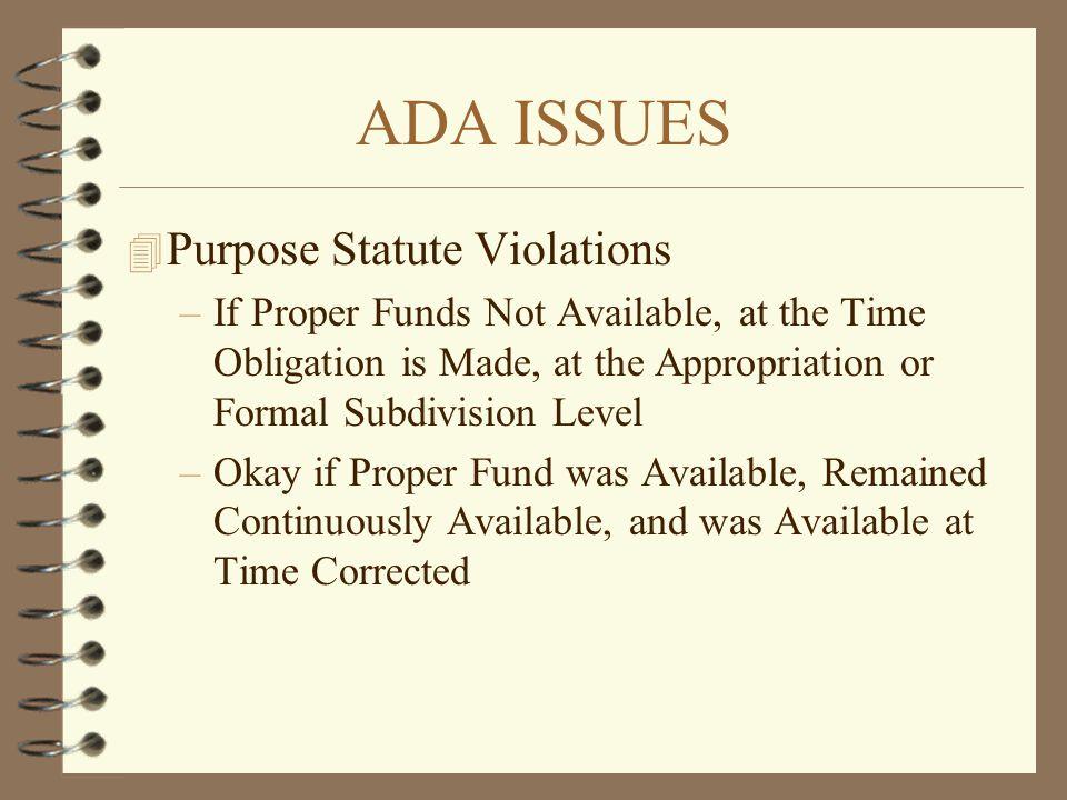 ADA ISSUES Purpose Statute Violations