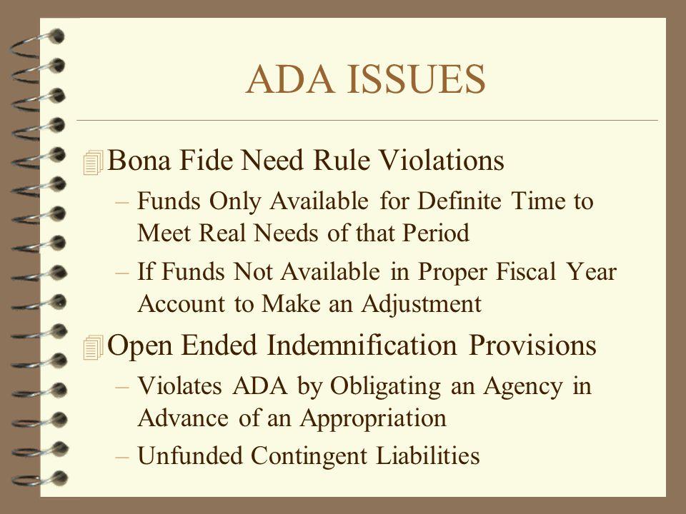ADA ISSUES Bona Fide Need Rule Violations