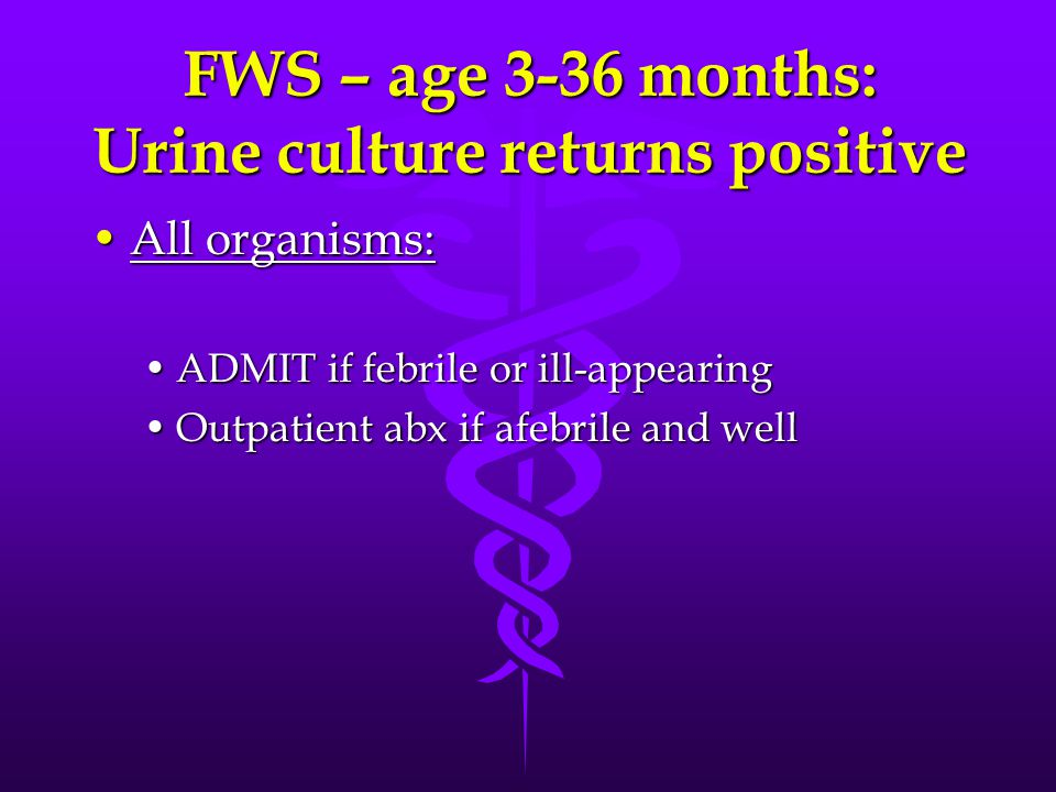 FWS – age 3-36 months: Urine culture returns positive