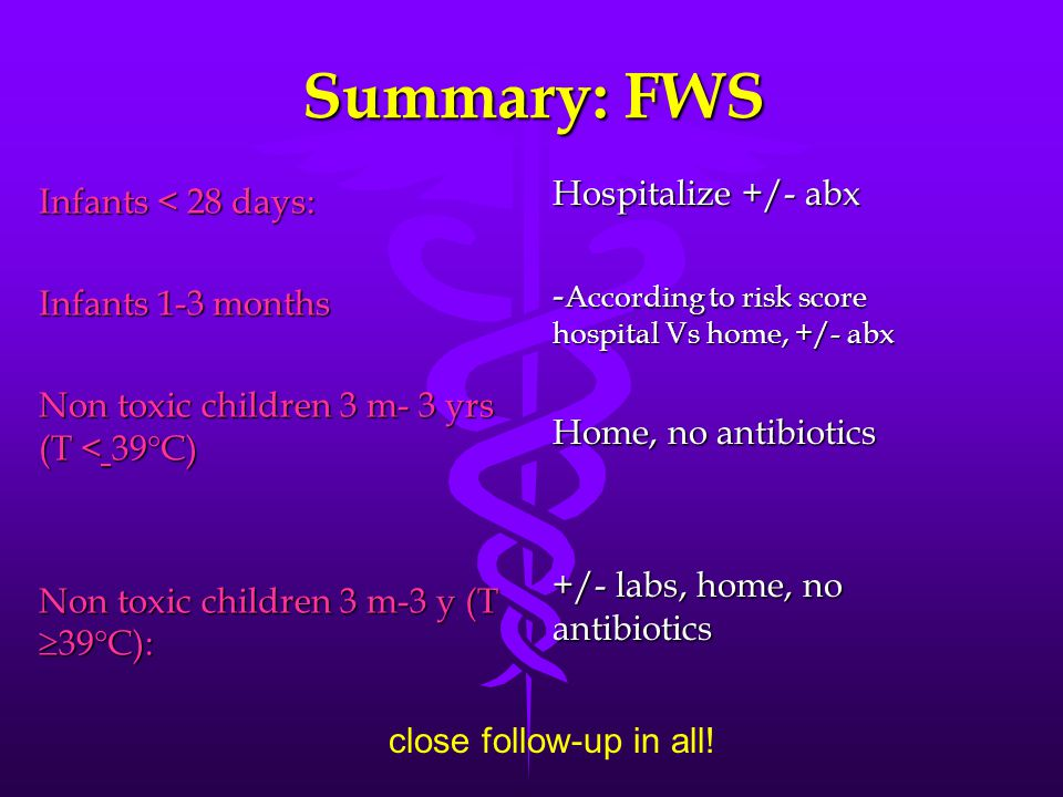 Summary: FWS Hospitalize +/- abx Infants < 28 days: