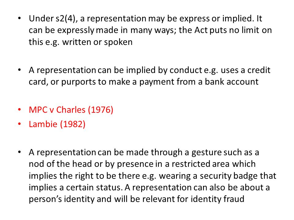 Under s2(4), a representation may be express or implied