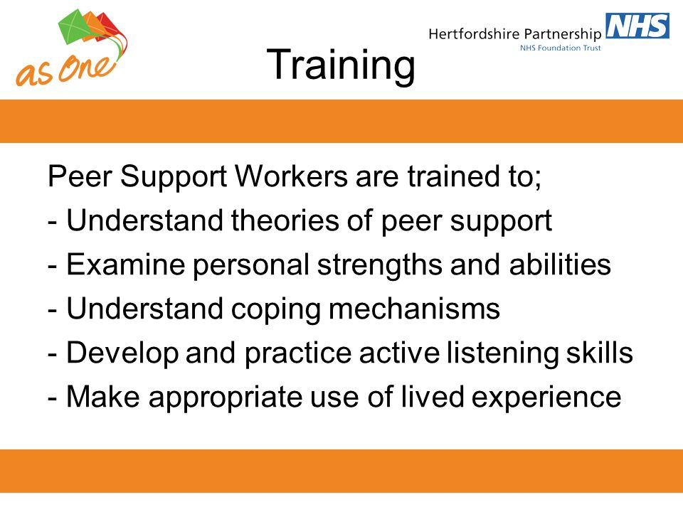 Training Peer Support Workers are trained to;