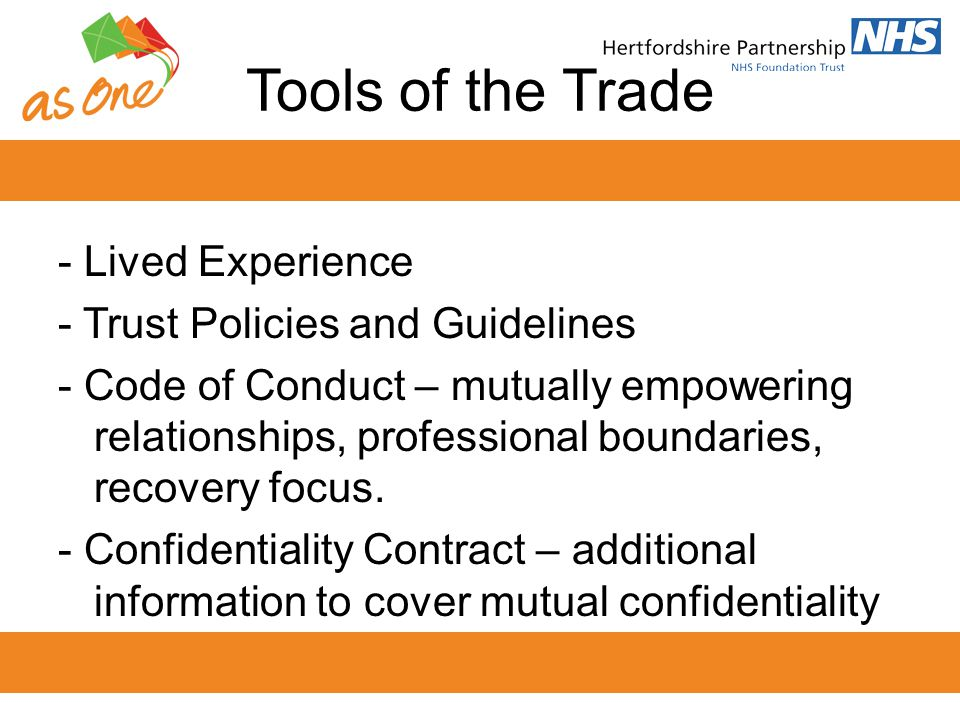 Tools of the Trade - Lived Experience - Trust Policies and Guidelines