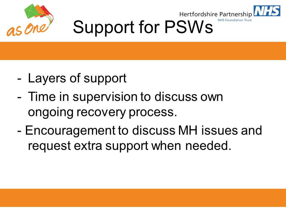 Support for PSWs Layers of support