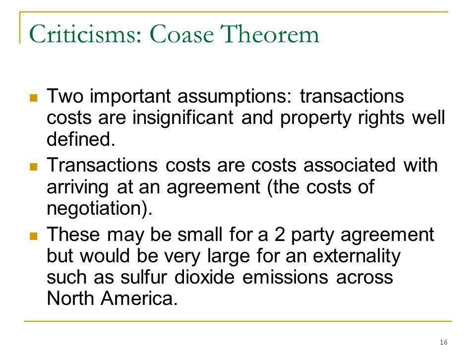 Criticisms: Coase Theorem