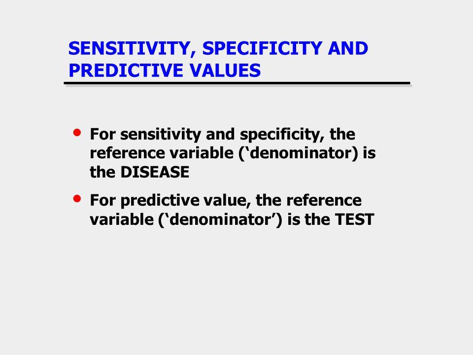 SENSITIVITY, SPECIFICITY AND PREDICTIVE VALUES