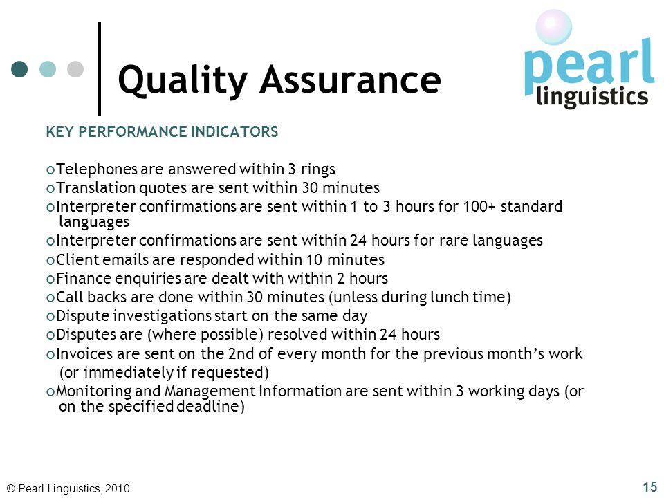 Quality Assurance KEY PERFORMANCE INDICATORS