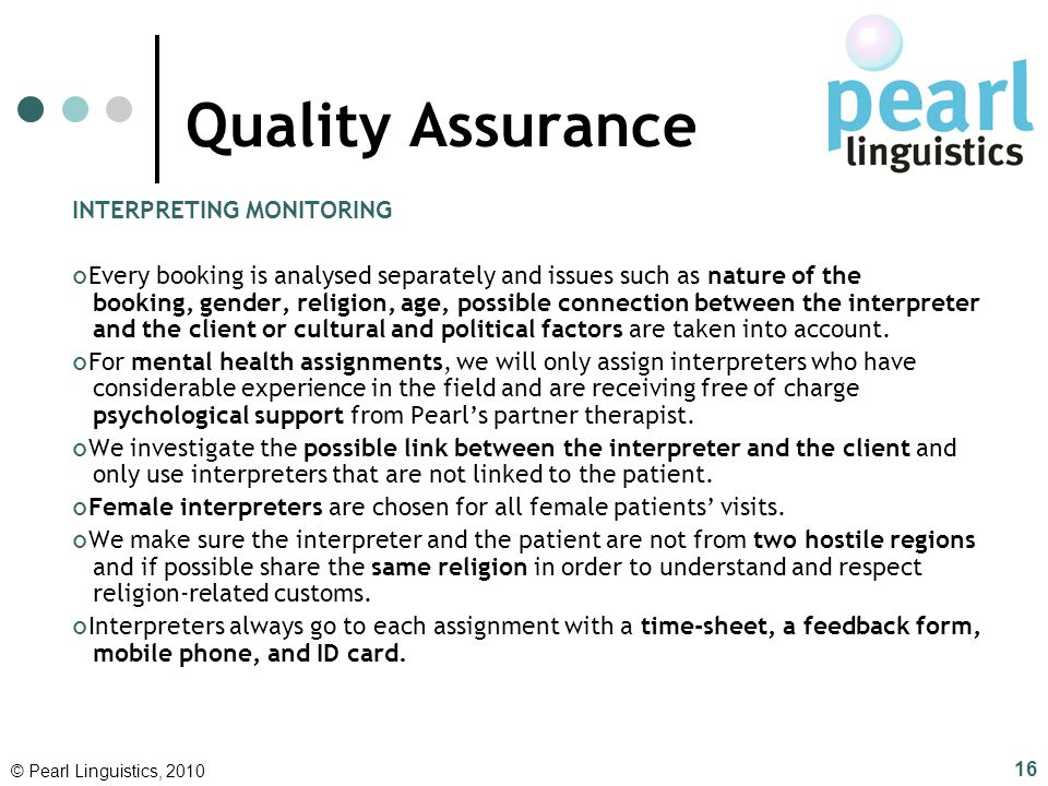 Quality Assurance INTERPRETING MONITORING