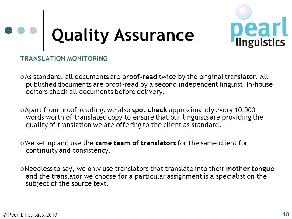 Quality Assurance TRANSLATION MONITORING