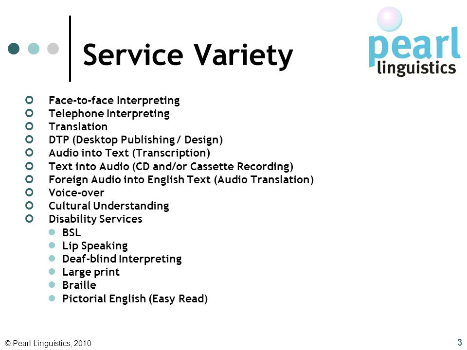 Service Variety Face-to-face Interpreting Telephone Interpreting