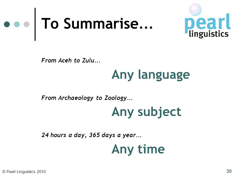 Any language Any subject Any time To Summarise… From Aceh to Zulu…