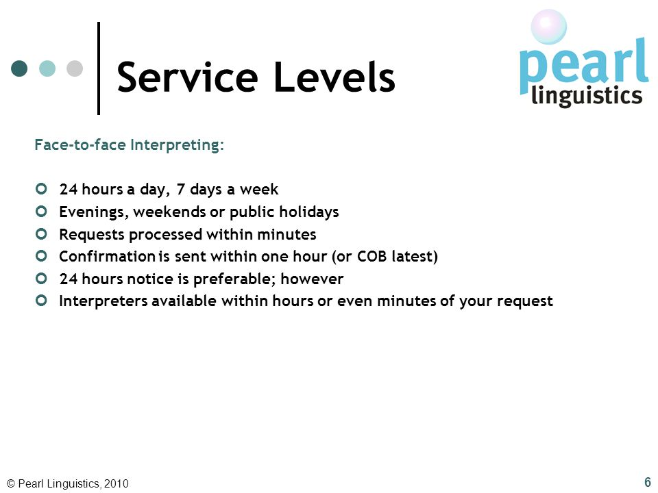 Service Levels Face-to-face Interpreting: