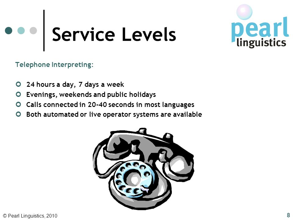 Service Levels Telephone Interpreting: 24 hours a day, 7 days a week
