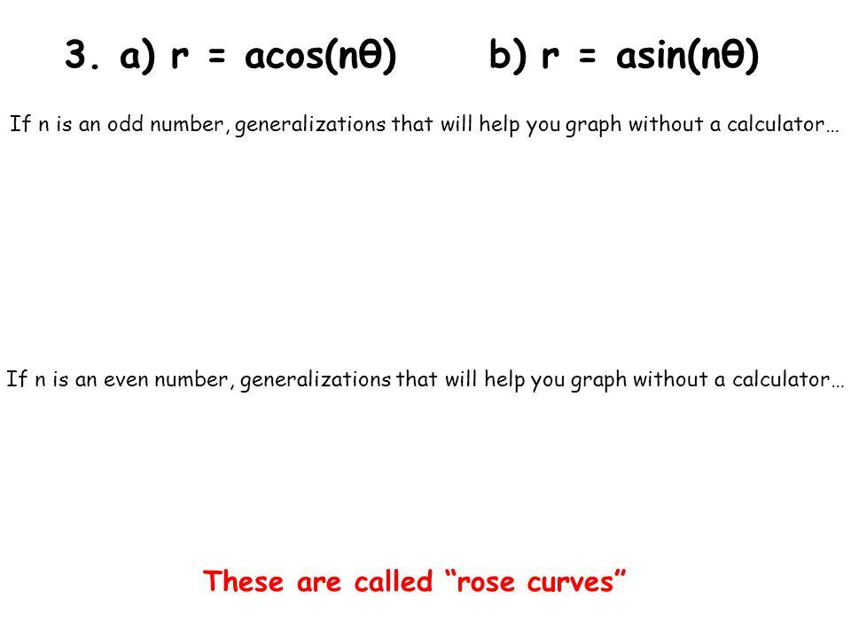 3. a) r = acos(nθ) b) r = asin(nθ)