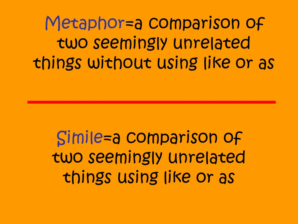 Simile=a comparison of two seemingly unrelated things using like or as