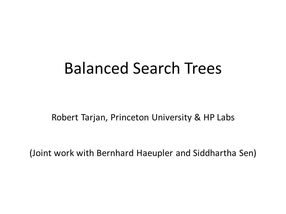 Balanced Search Trees Robert Tarjan, Princeton University & HP Labs