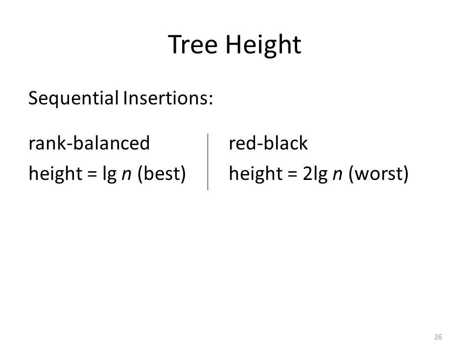 Tree Height Sequential Insertions: rank-balanced red-black height = lg n (best) height = 2lg n (worst)