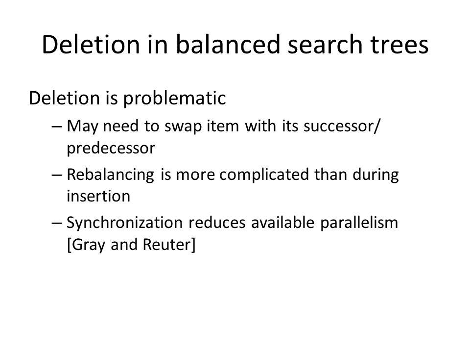 Deletion in balanced search trees