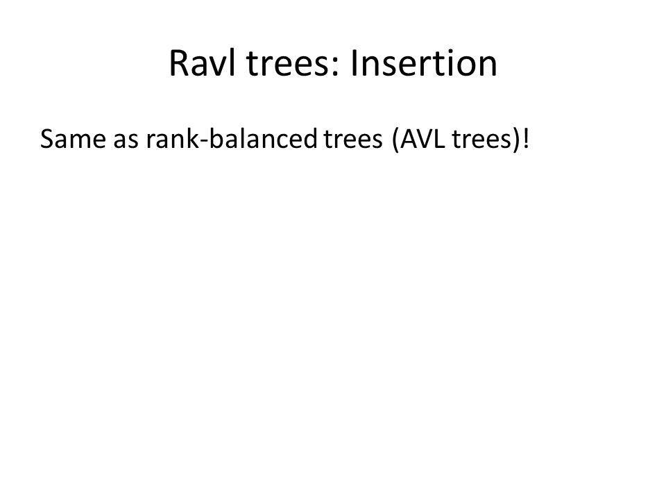 Ravl trees: Insertion Same as rank-balanced trees (AVL trees)!