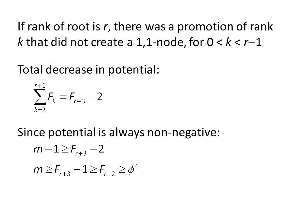 If rank of root is r, there was a promotion of rank k that did not create a 1,1-node, for 0 < k < r1 Total decrease in potential: Since potential is always non-negative:
