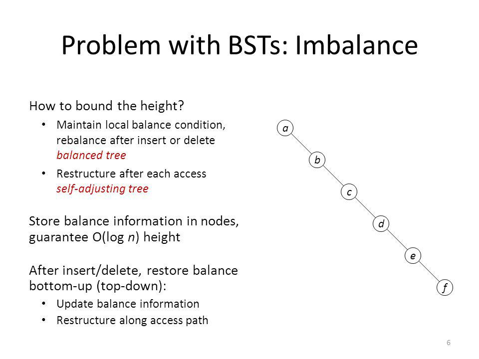 Problem with BSTs: Imbalance