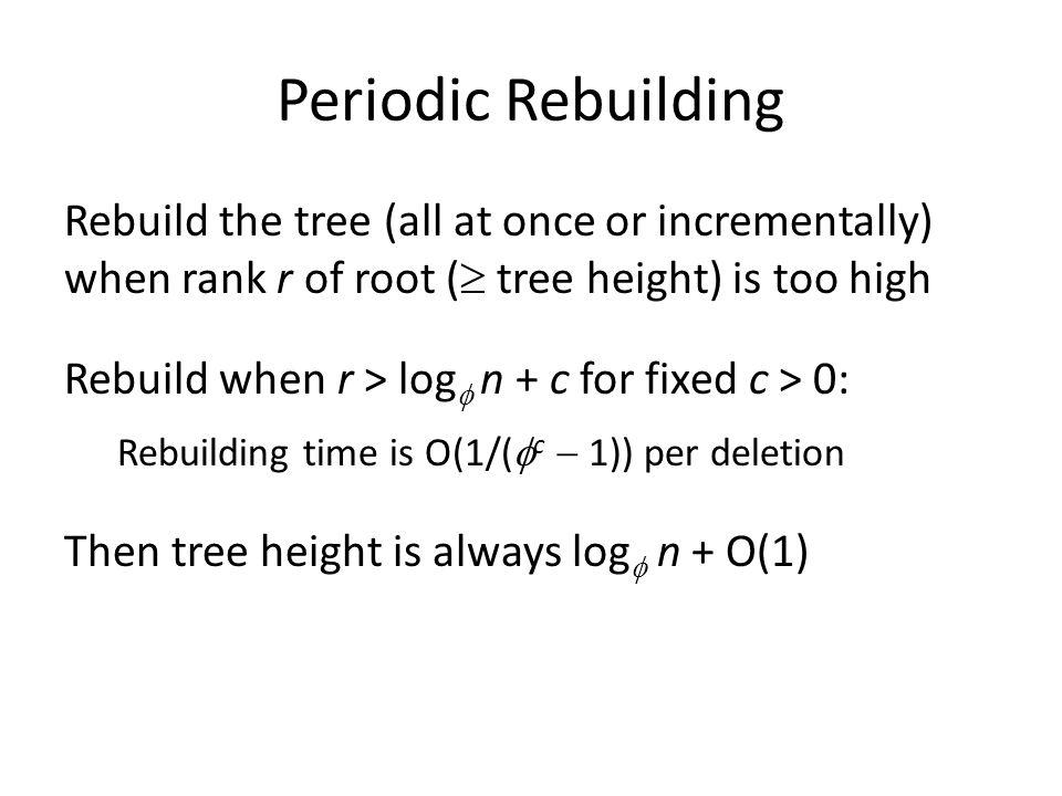 Periodic Rebuilding Rebuild the tree (all at once or incrementally) when rank r of root ( tree height) is too high.