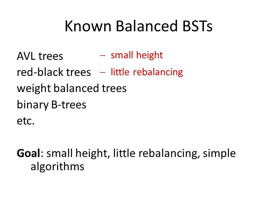 Known Balanced BSTs AVL trees red-black trees weight balanced trees binary B-trees etc. Goal: small height, little rebalancing, simple algorithms
