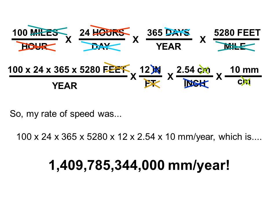 100 x 24 x 365 x 5280 x 12 x 2.54 x 10 mm/year, which is....