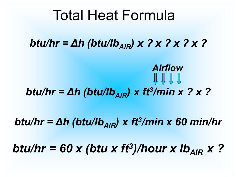Total Heat Formula btu/hr = 60 x (btu x ft3)/hour x lbAIR x