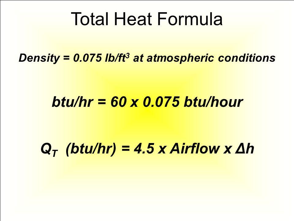 Total Heat Formula btu/hr = 60 x 0.075 btu/hour