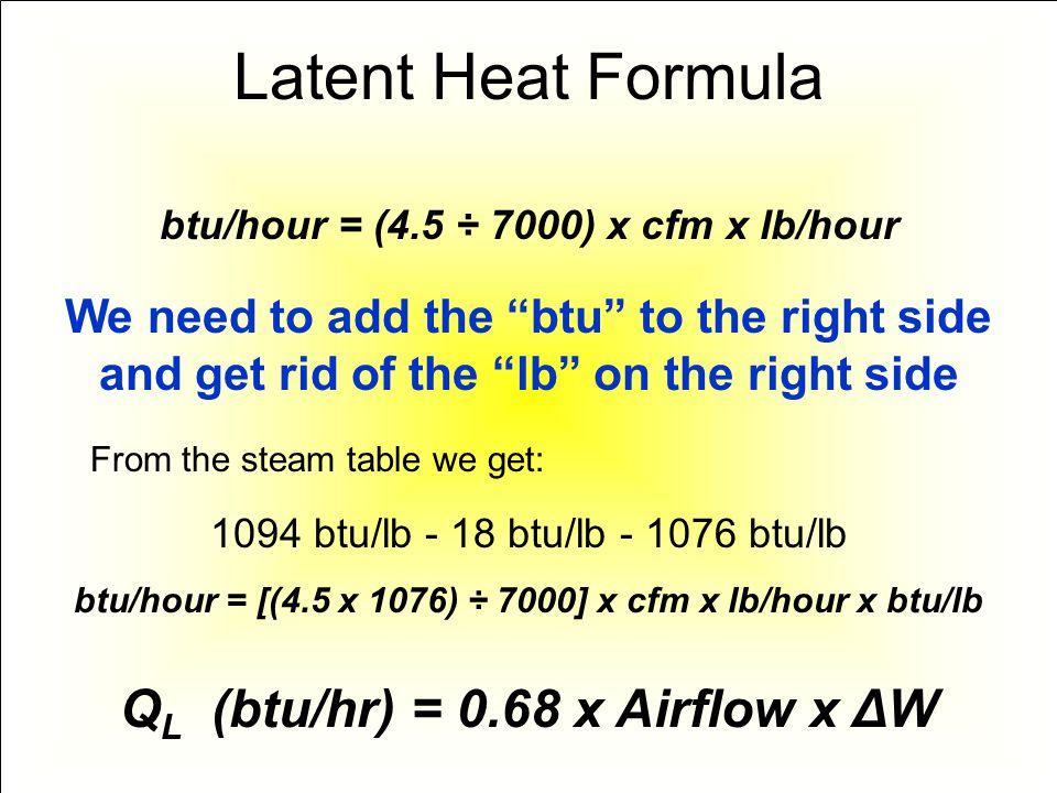 Latent Heat Formula QL (btu/hr) = 0.68 x Airflow x ΔW