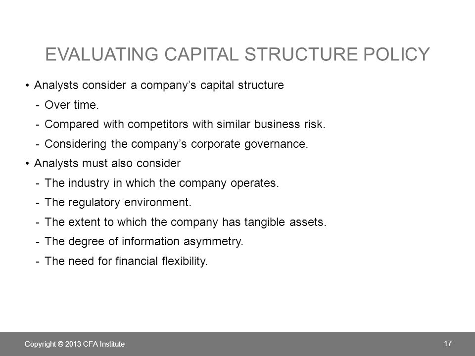 Evaluating Capital Structure Policy