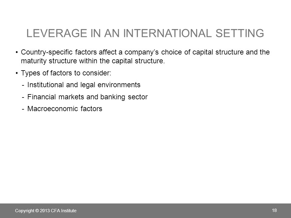 Leverage in an International Setting