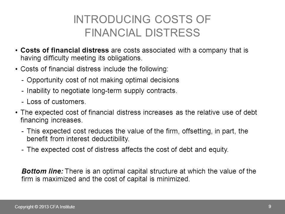 Introducing costs of financial distress