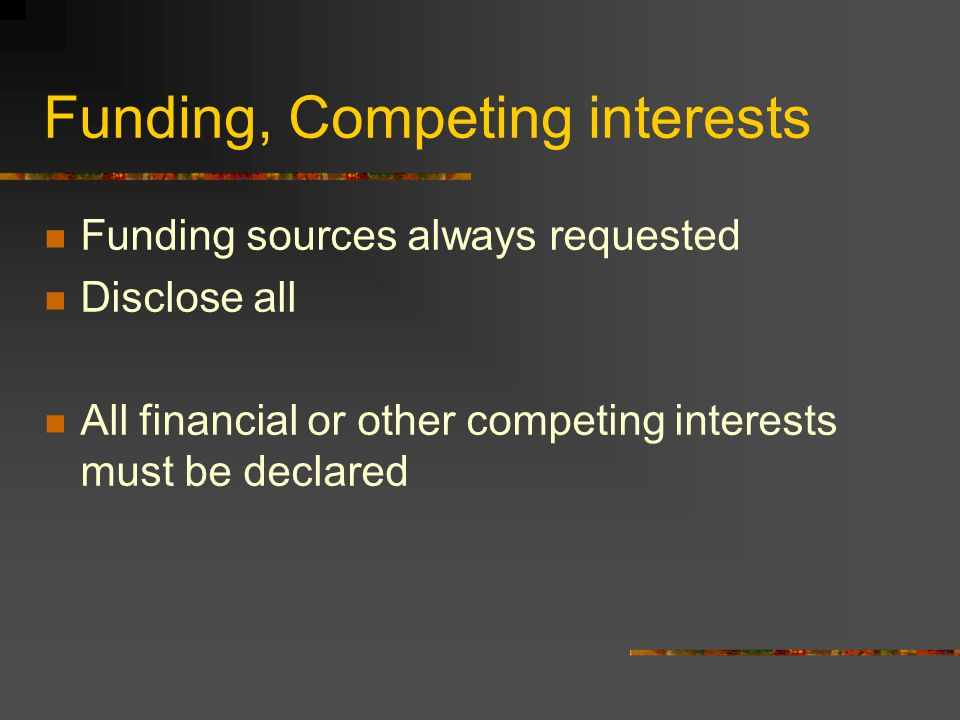Funding, Competing interests