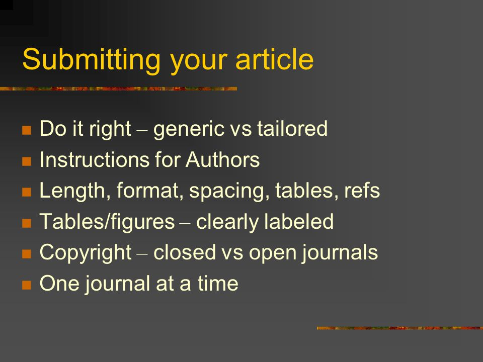 Submitting your article