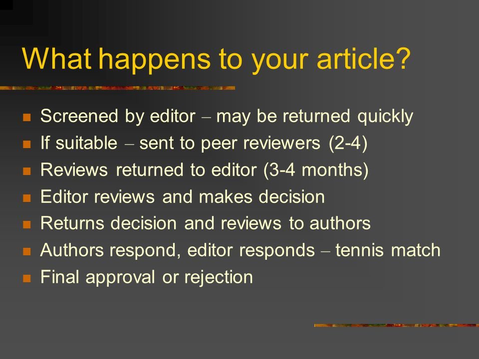 What happens to your article