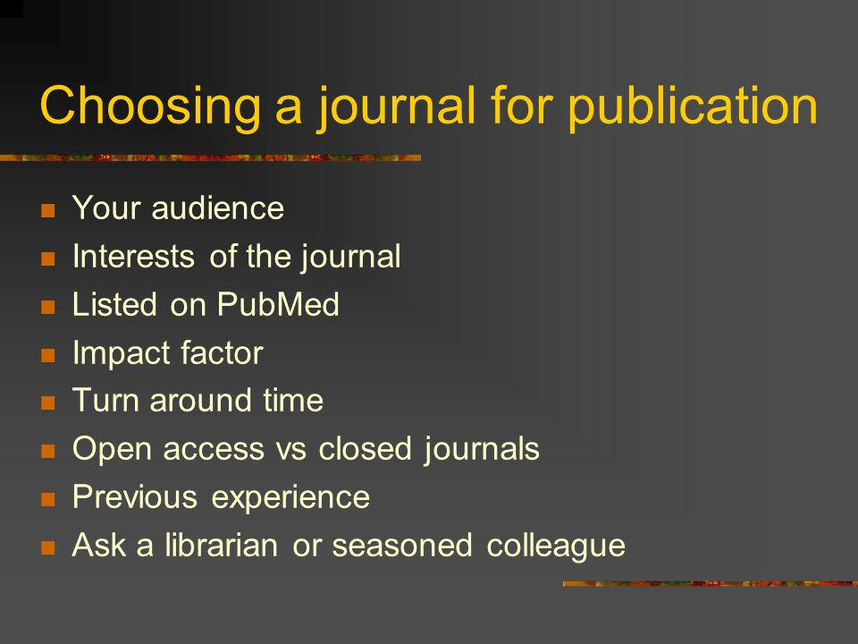 Choosing a journal for publication