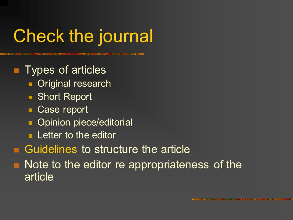 Check the journal Types of articles