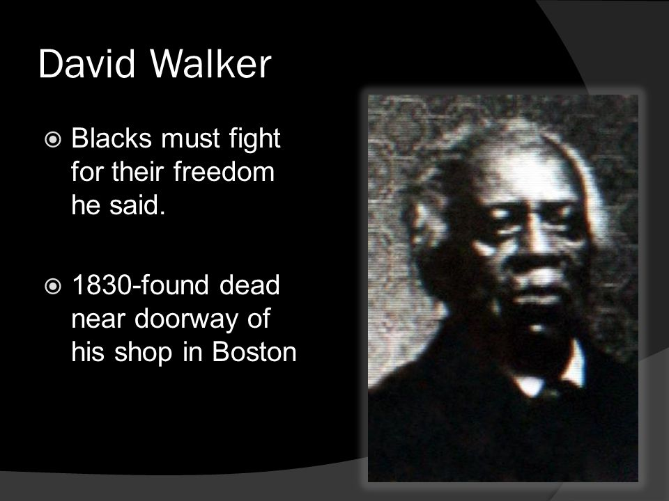 David Walker Blacks must fight for their freedom he said.