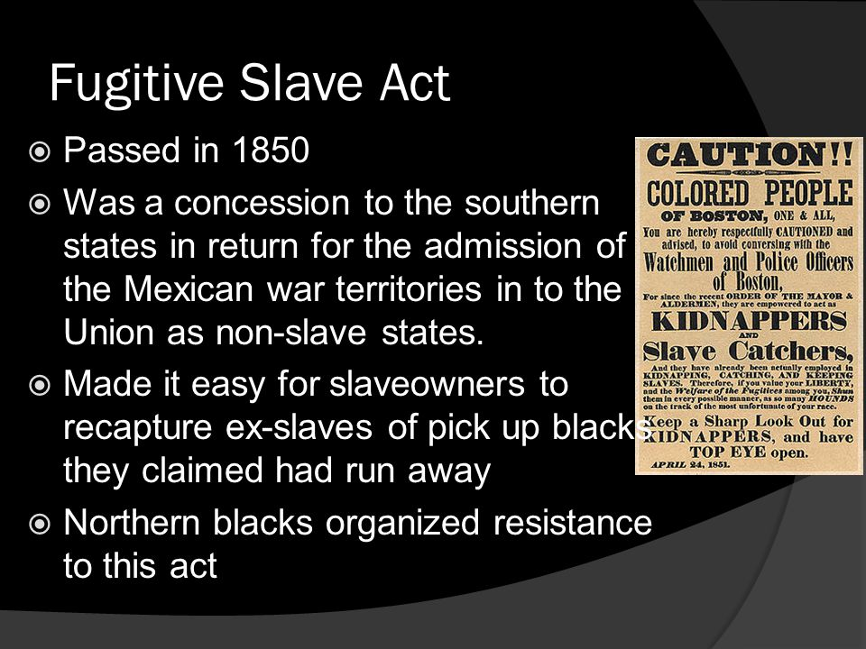 Fugitive Slave Act Passed in 1850