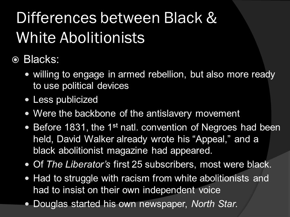 Differences between Black & White Abolitionists