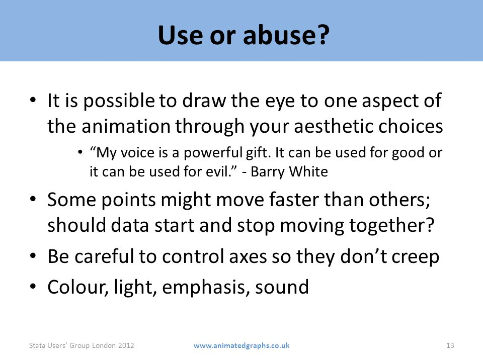 Use or abuse It is possible to draw the eye to one aspect of the animation through your aesthetic choices.