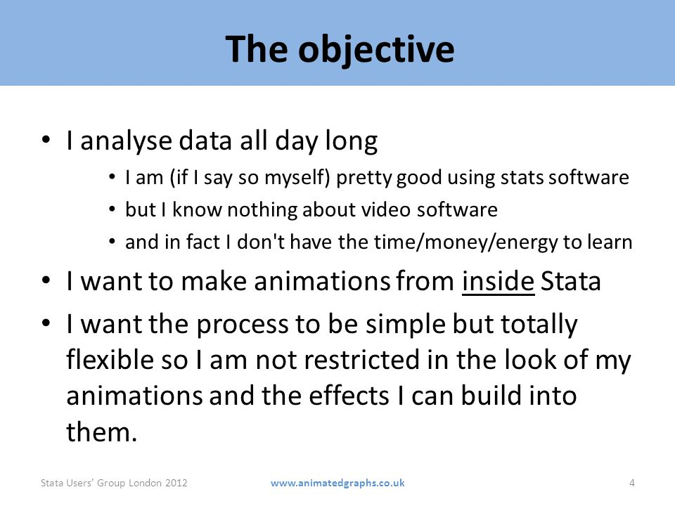 The objective I analyse data all day long