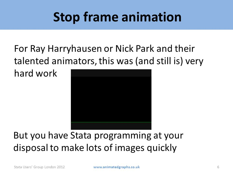 Stop frame animation For Ray Harryhausen or Nick Park and their talented animators, this was (and still is) very hard work.