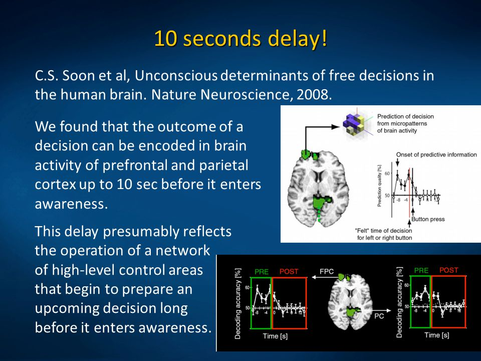 10 seconds delay! C.S. Soon et al, Unconscious determinants of free decisions in the human brain. Nature Neuroscience, 2008.