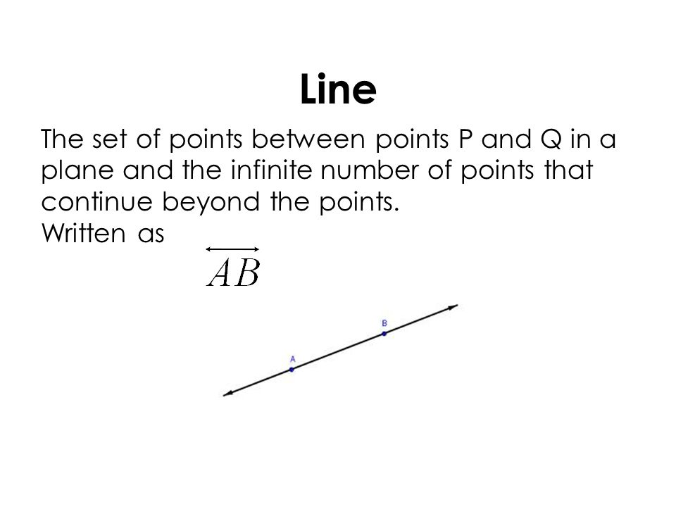 Line The set of points between points P and Q in a plane and the infinite number of points that continue beyond the points.