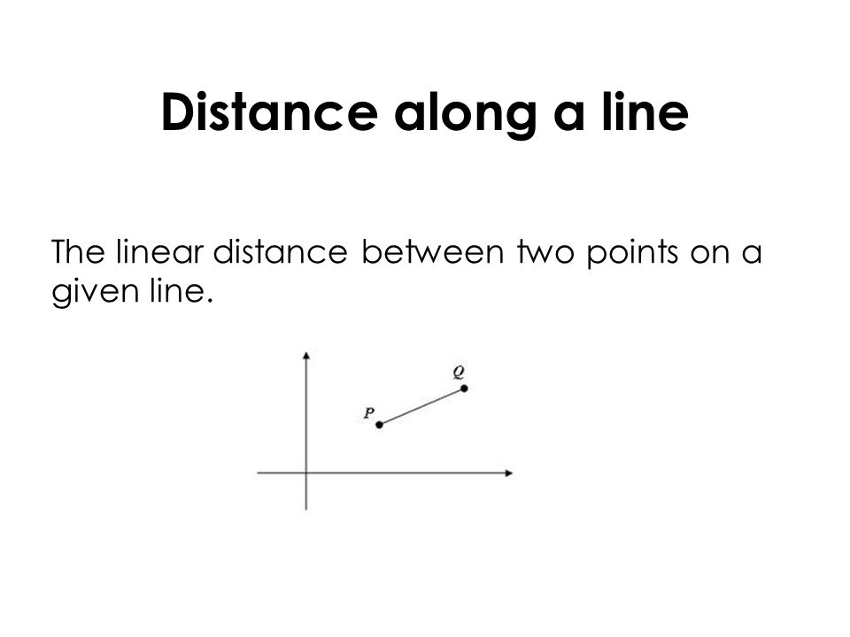 Distance along a line The linear distance between two points on a given line.